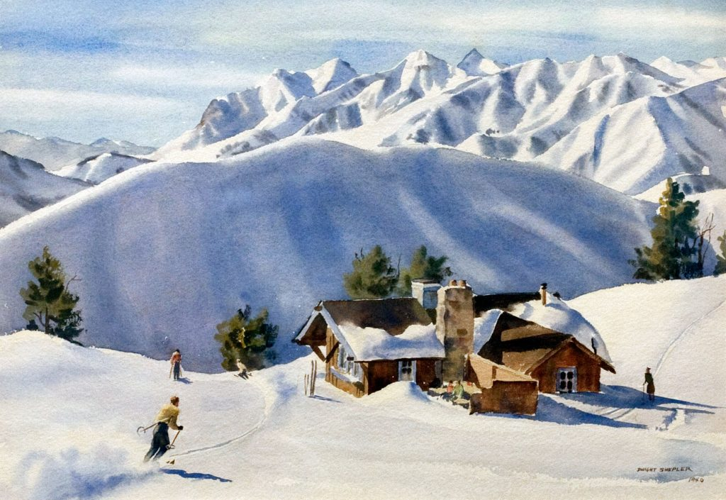 Cottage and Skiers, Dwight Shepler