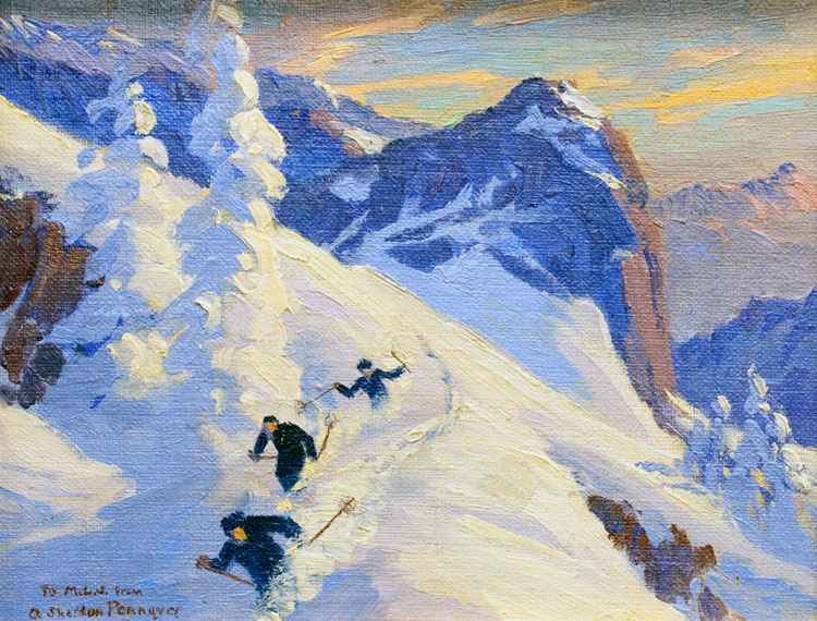 Three Alpine Skiers,  Albert Sheldon Pennoyer