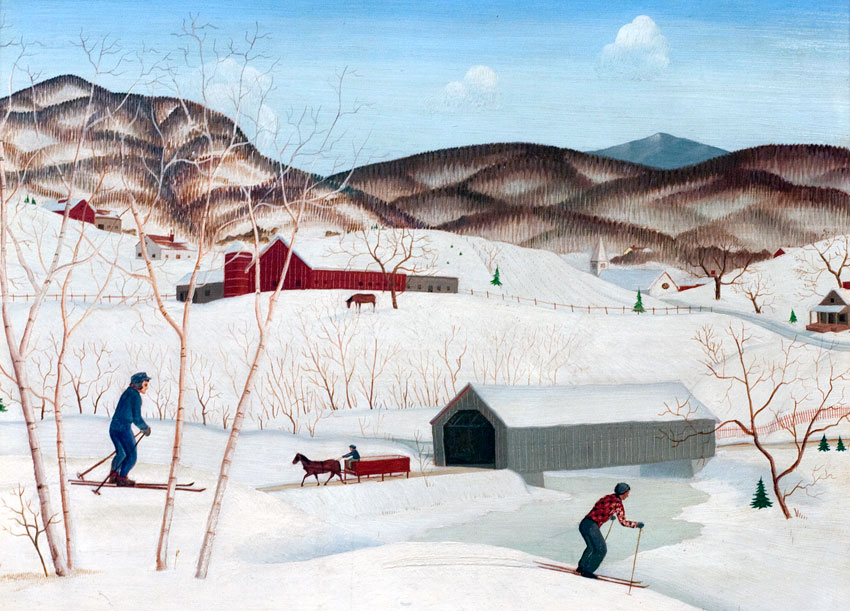 Skiing Near the Bridge, Doane