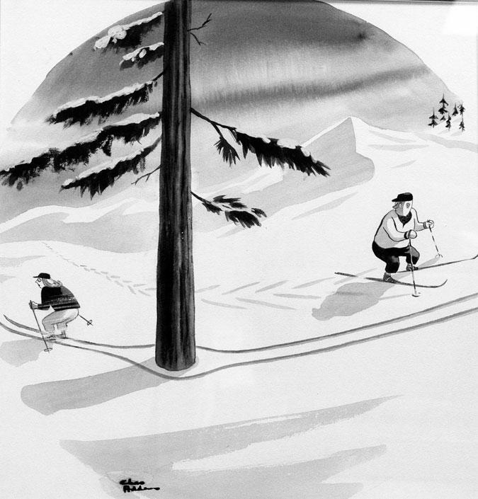 Skiers Tracks Around Trees