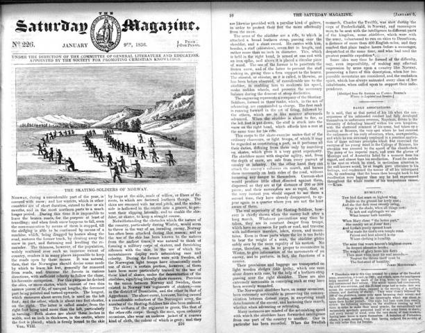 Saturday Magazine cover, lithograph, 1836